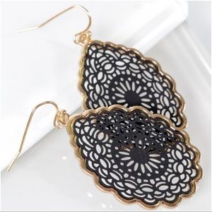 Jewelry - Black Mandala Teardrop Earrings